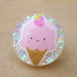 Kawaii Pink Strawberry Ice Cream Cone Glitter Ring